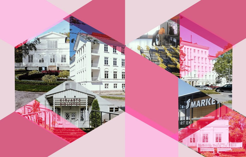 Kuvakooste neljästä rakennuksesta, joissa hankkeessa toimivat hyvinvoinnin tilat sijaitsevat. Rakennukset ovat Annalan huvila Helsingissä, vanha lääninsairaala Seinäjoella, Lapinjärven kirjasto ja Sammonlahden ostoskeskus Lappeenrannassa.