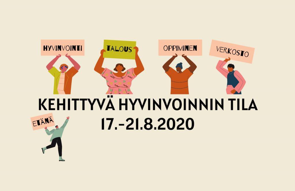 Annalan huvilan 17.–21.8.2020 järjestämän Kehittyvä hyvinvoinnin tila -verkkotapahtuman Facebook-tapahtuman kansikuva.