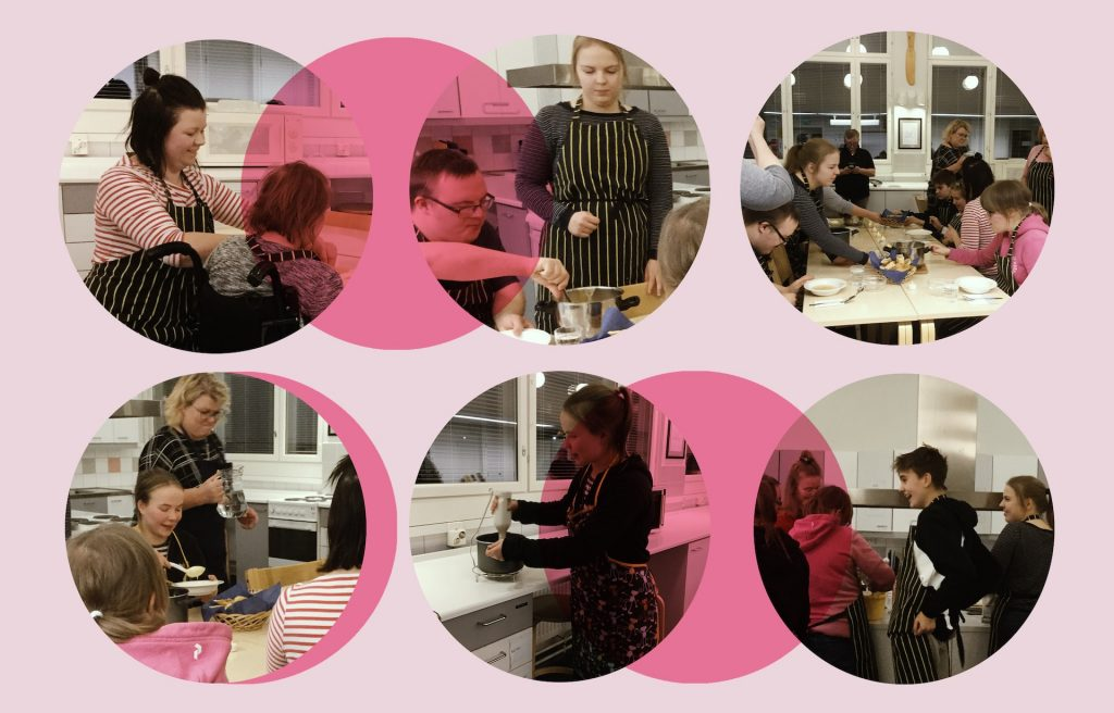 Nuorten kehitysvammaisten kokkikerhon osallistujat opettelevat ruoanlaittoa ja ruoan tekemistä yhdessä LAB-ammattikorkeakoulun sosionomiopiskelijoiden ohjauksessa.