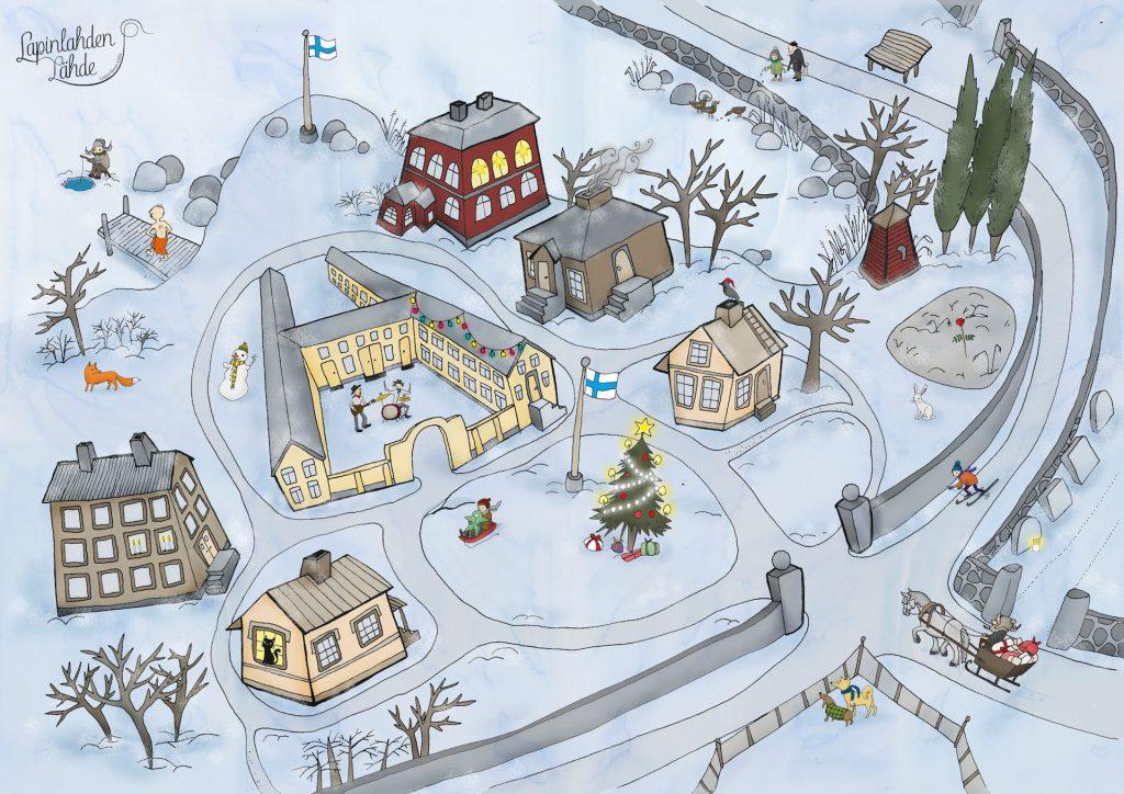 Talvinen piirroskuva Lapinlahden sairaala-alueesta joulunaikaan. Maassa on lunta, meri on jäässä. Alueen seitsemää rakennusta ympäröi kiviaita. Alueella on lehdettömiä puita ja pensaita, havupuita sekä kettu ja jänis. Sairaalan päärakennuksen sisäpihalla soittavat kitaristi ja rumpali. Kaksi koiraa tarkkailee menoa koirapuiston aidan takaa. Rannassa, meren jäällä pilkkii karvahattuinen henkilö. Pyyhkeeseen sonnustautunut henkilö kävelee laiturilla, hän on menossa uimaan avantoon. Alueelle ajaa hevosen vetämä reki täynnä lahjoja. Pienellä mäennyppylällä alueen keskellä on koristeltu joulukuusi, jonka vieressä olevassa lipputangossa liehuu Suomen lippu. Vanhempi ja pikkulapsi laskevat mäkeä pulkalla.
