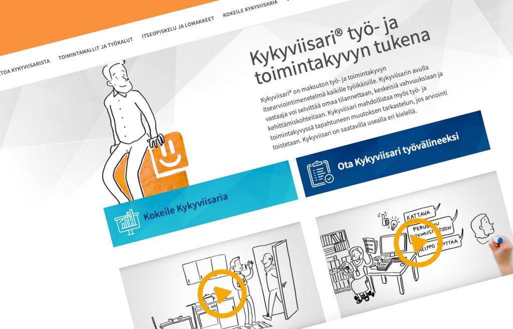 Kuvakaappaus Kykyviisari-verkkotyövälineen etusivusta.