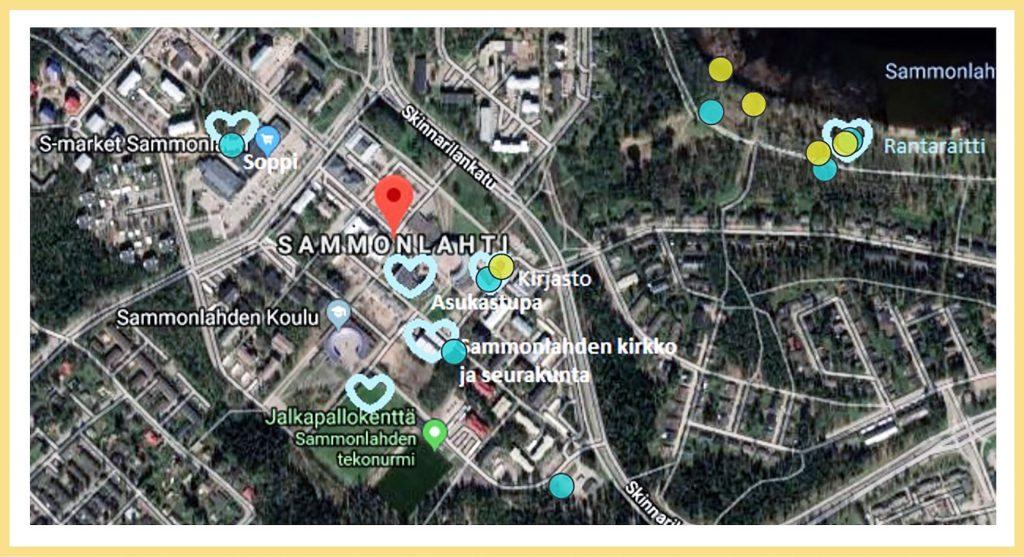 Lappeenrannan Sammonlahden alueen karttaan on tehty merkintöjä vastaajien myönteisiksi kokemista paikoista, esim. kirjasto, Soppi, Sammonlahden koulu, Sammonlahden kirkko ja seurakunta, jalkapallokenttä ja Sammonlahden tekonurmi.