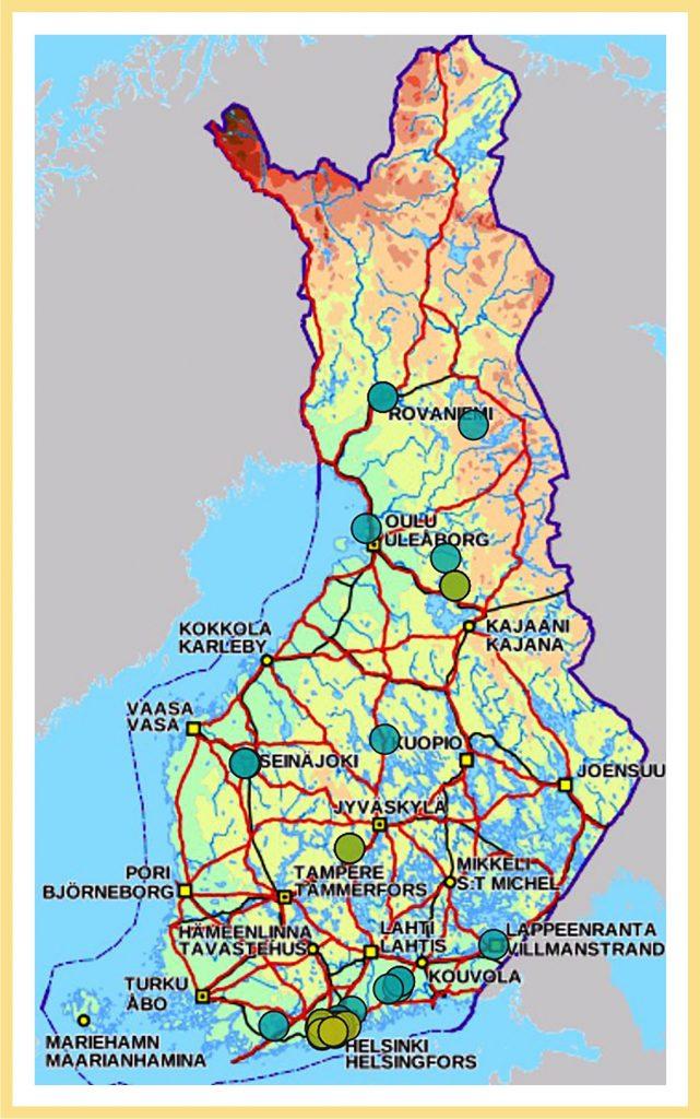Suomen kartalla näkyy esimerkkikuvassa yhteensä noin kuusi kuvamerkintää ja noin 11 sanallisesti annettua merkintää Hyvinvoinnin tilaksi soveltuviksi ajatelluista tiloista. Merkintöjä on erityisesti pääkaupunkiseudulla, mutta myös pitkin etelärannikkoa sekä mm. Lappeenrannan, Tampereen, Turun, Kuopion, Seinäjoen, Oulun ja Rovaniemen seuduilla.